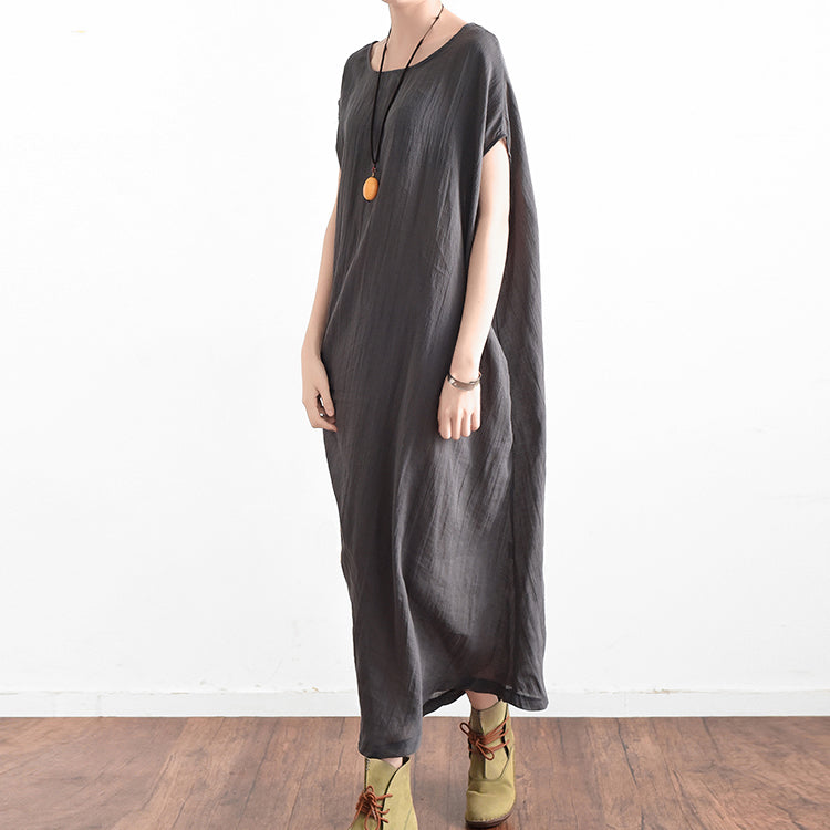 Finest Elegant gray oversized summer linen dresses side drape  EE01