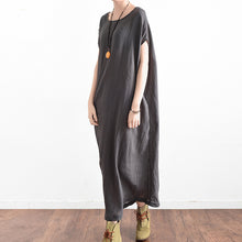 Load image into Gallery viewer, Elegant gray oversized summer linen dresses side drape asymmetrical cotton