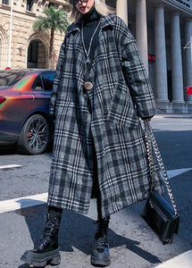 Elegant gray plaid Woolen Coat Women plus size Notched pockets long coats