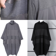 Load image into Gallery viewer, Elegant gray shift dress trendy plus size long sleeve New Turtleneck patchwork cotton blended clothing dress