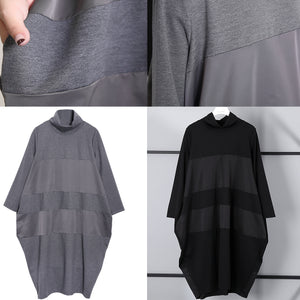 Elegant gray shift dress trendy plus size long sleeve New Turtleneck patchwork cotton blended clothing dress