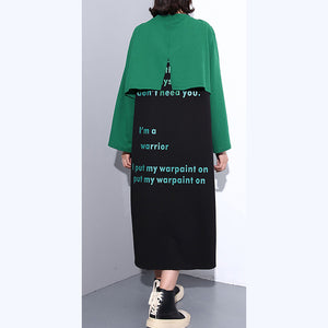 Elegant green autumn cotton dress oversized O neck gown New faux two pieces caftans