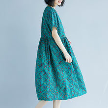 Load image into Gallery viewer, Elegant green cotton linen shift dress oversized maxi dress Fine short sleeve O neck floral cotton linen clothing