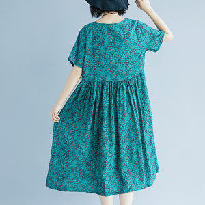 Elegant green cotton linen shift dress oversized maxi dress Fine short sleeve O neck floral cotton linen clothing