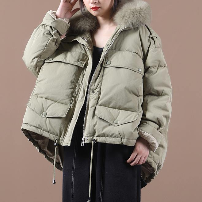 Elegant green duck down coat plus size clothing down jacket faux fur collar drawstring Casual overcoat