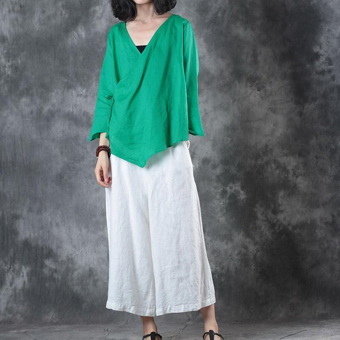 Elegant green midi linen pullover Loose fitting holiday tops vintage half sleeve v neck tie waist brief t shirt
