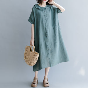 Elegant green natural cotton linen dress trendy plus size holiday dresses casual short sleeve patchwork Peter pan Collar pockets knee dresses
