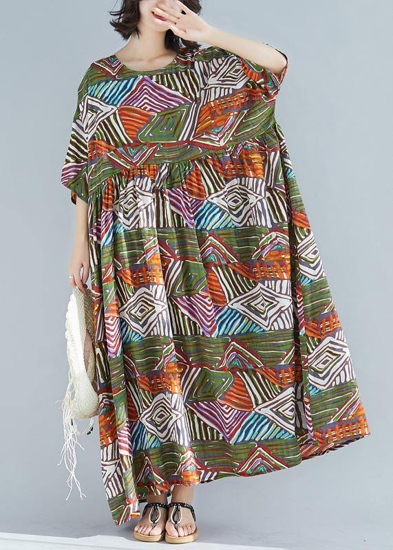 Elegant green print cotton clothes o neck large hem Maxi summer Dress