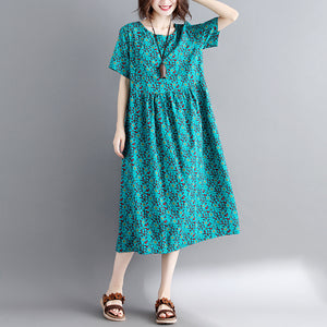 Elegant green print cotton linen maxi dress trendy plus size short sleeve long dresses New o neck clothing dresses