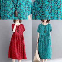 Load image into Gallery viewer, Elegant green print cotton linen maxi dress trendy plus size short sleeve long dresses New o neck clothing dresses