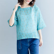 Load image into Gallery viewer, Elegant green print cotton linen pullover plus size cotton linen clothing tops women Half sleeve Square Collar tops