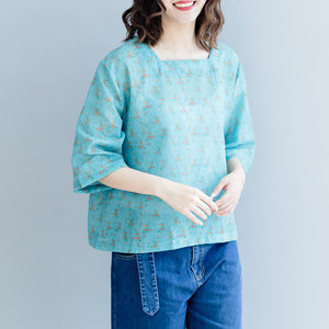 Elegant green print cotton linen pullover plus size cotton linen clothing tops women Half sleeve Square Collar tops