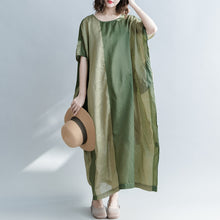 Load image into Gallery viewer, Elegant green striped linen blended dresses casual O neck baggy dresses linen blended clothing dress vintage Batwing Sleeve patchwork maxi dresses