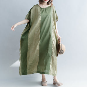 Elegant green striped linen blended dresses casual O neck baggy dresses linen blended clothing dress vintage Batwing Sleeve patchwork maxi dresses