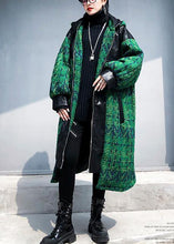 Load image into Gallery viewer, Elegant green woolen coats Loose fitting medium length coat patchwork hooded woolen outwear