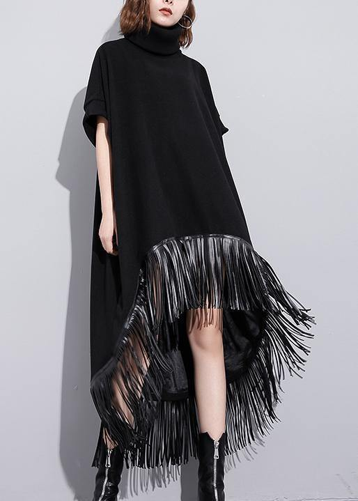 Elegant high neck tassel cotton Tunic Fabrics black Vestidos De Lino Dresses