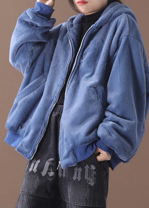 Elegant hooded Fashion winter outfit blue silhouette coat