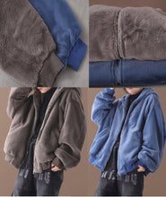 Load image into Gallery viewer, Elegant hooded Fashion winter outfit blue silhouette coat