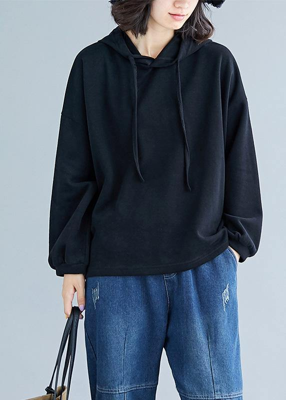 Elegant hooded drawstring cotton black top fall