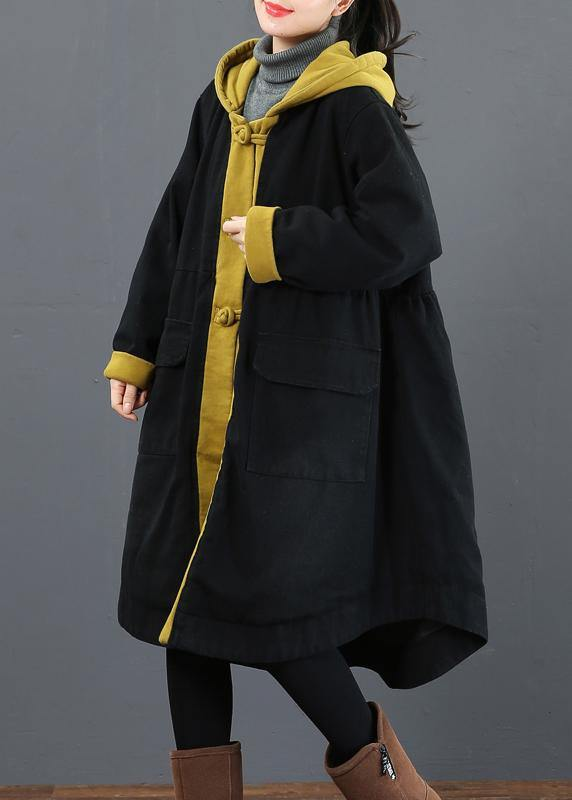 Elegant hooded large hem Fashion crane coats yellow silhouette outwear