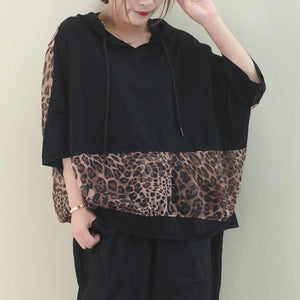 Elegant hooded patchwork cotton summer top design black shirt