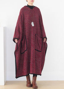 Elegant hooded spring clothes Women pattern burgundy Maxi Dress