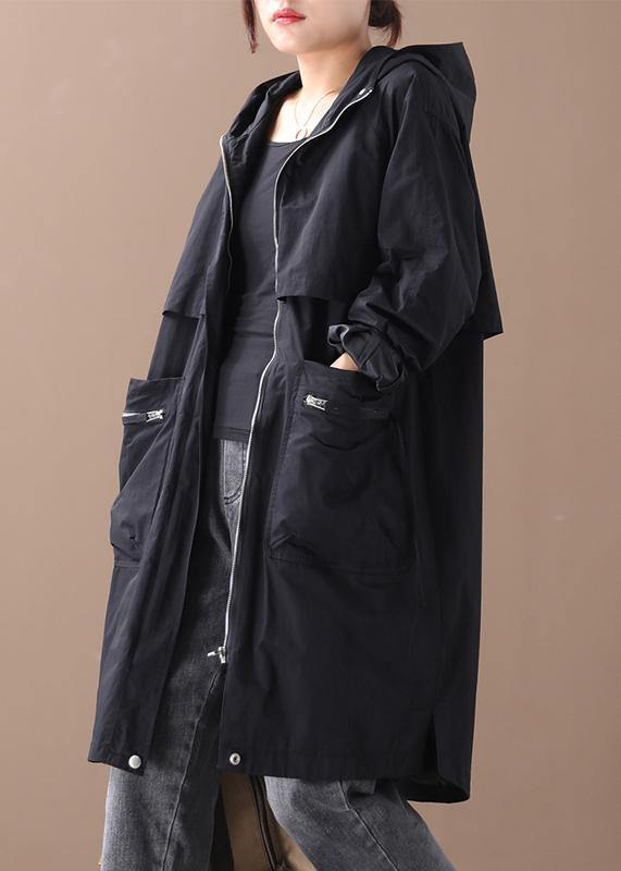 Elegant hooded zippered Plus Size coats women black women coats