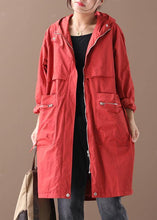 Load image into Gallery viewer, Elegant hooded zippered Plus Size coats women black women coats
