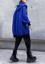 Load image into Gallery viewer, Elegant hooded zippered tunic pattern blue thick Vestidos De Lino coats