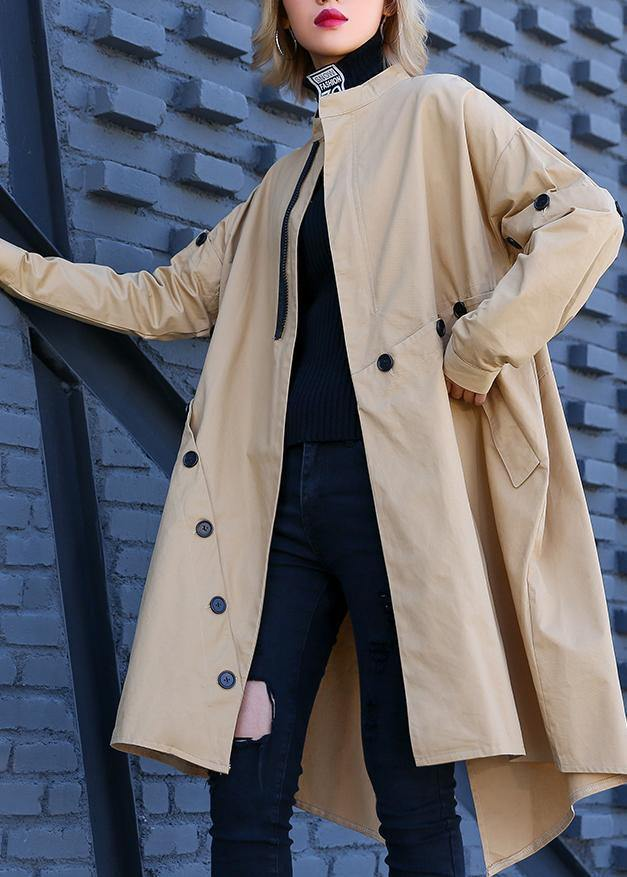 Elegant khaki Coat Women plus size medium length stand collar asymmetric coat