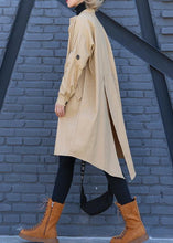 Load image into Gallery viewer, Elegant khaki Coat Women plus size medium length stand collar asymmetric coat