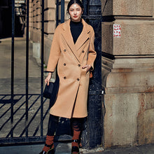 Load image into Gallery viewer, Elegant khaki Coats oversize Notched Wool Coat Fashion double breasted Wool Coat