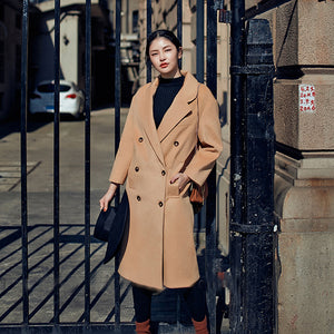 Elegant khaki Coats oversize Notched Wool Coat Fashion double breasted Wool Coat