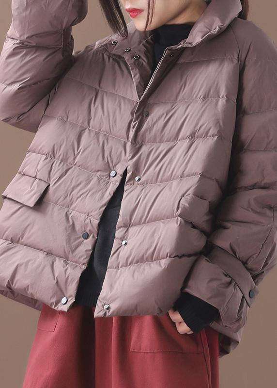 Elegant khaki Parkas for women plus size down jacket winter short coat stand collar