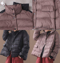 Load image into Gallery viewer, Elegant khaki Parkas for women plus size down jacket winter short coat stand collar