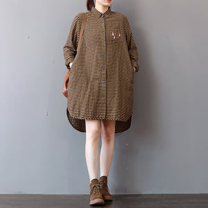 Elegant khaki striped linen knee dress plus size linen cotton dress lapel collar Fine low high design natural linen dress