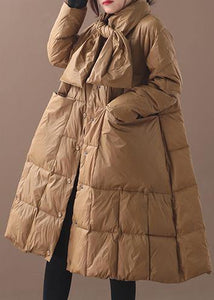 Elegant khaki winter parkas casual winter jacket hooded outwear thick