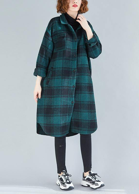 Elegant lapel pockets cotton clothes Christmas Gifts green plaid blouses