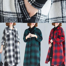 Load image into Gallery viewer, Elegant lapel pockets cotton clothes Christmas Gifts green plaid blouses