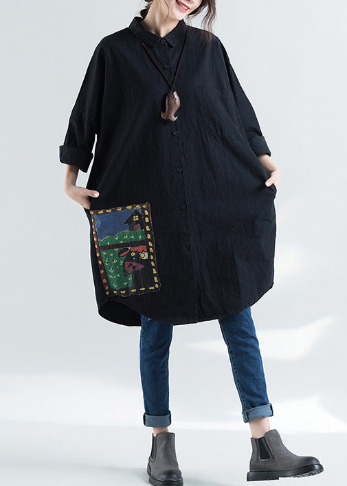 Elegant lapel print cotton tunic pattern Plus Size design black Knee shirts spring
