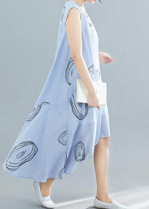 Elegant light blue print cotton dress sleeveless low high design loose summer Dresses