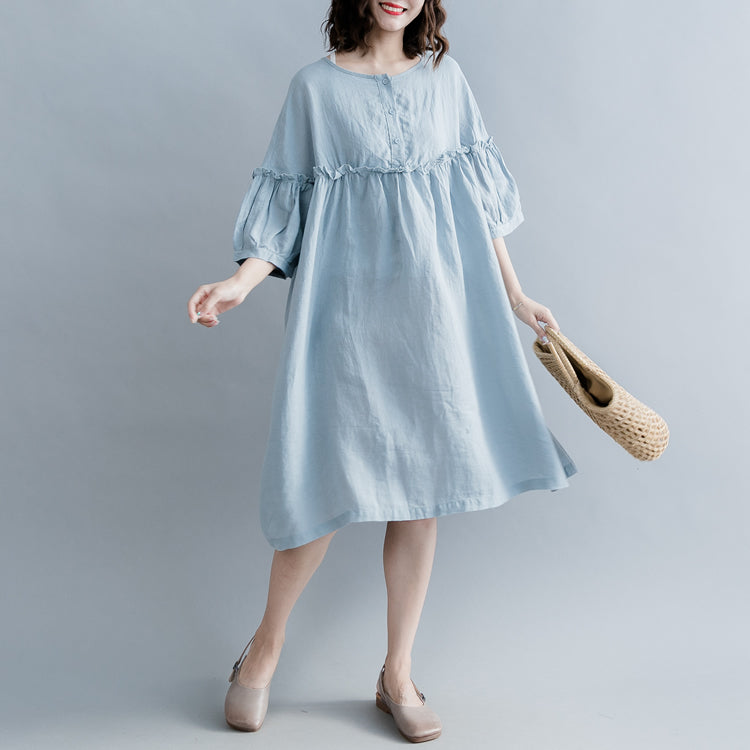 Elegant light blue pure cotton linen dress plus size linen cotton dress fine lantern sleeve Cinched o neck baggy dresses cotton linen dresses