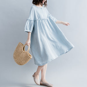 Elegant light blue pure cotton linen dress plus size linen cotton dress top quality lantern sleeve wrinkled o neck baggy dresses cotton linen dresses