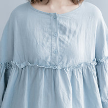 Load image into Gallery viewer, Elegant light blue pure cotton linen dress plus size linen cotton dress top quality lantern sleeve wrinkled o neck baggy dresses cotton linen dresses