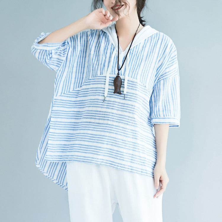 Elegant light blue striped cotton crane tops Boho Wardrobes hooded baggy low high design blouses