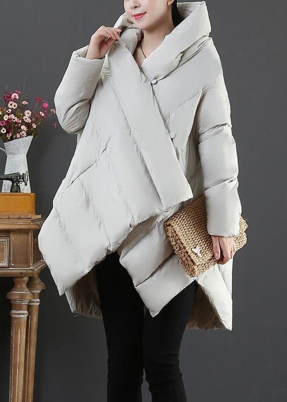 Elegant light gray goose Down coat plus size snow jackets hooded asymmetric Warm coats