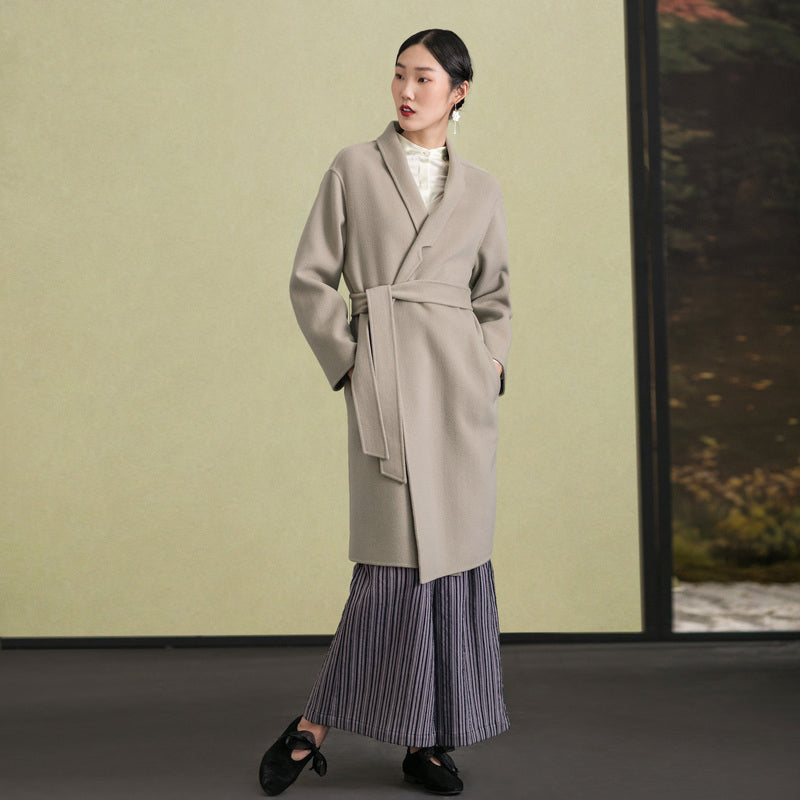 Elegant light gray wool coat casual stand collar winter coat tie waist women coats