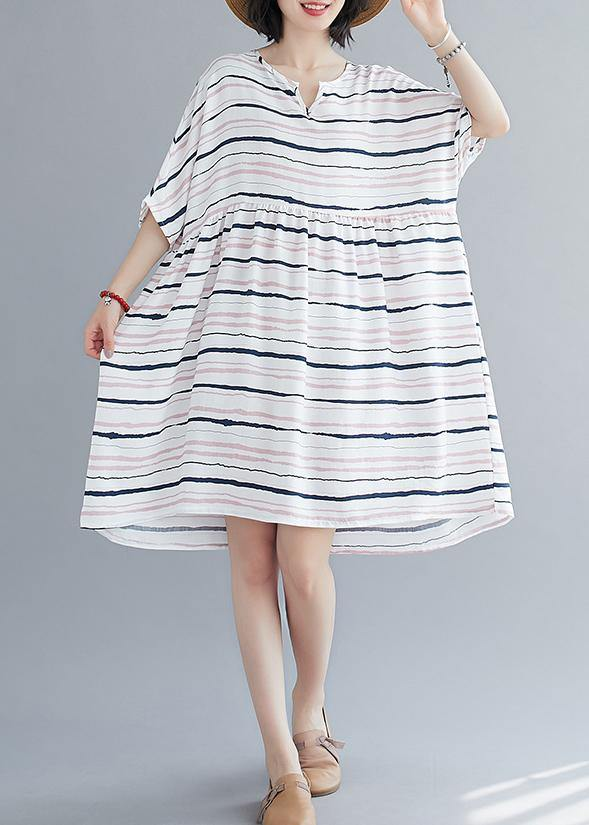 Elegant light pink striped dress o neck Plus Size summer Dresses