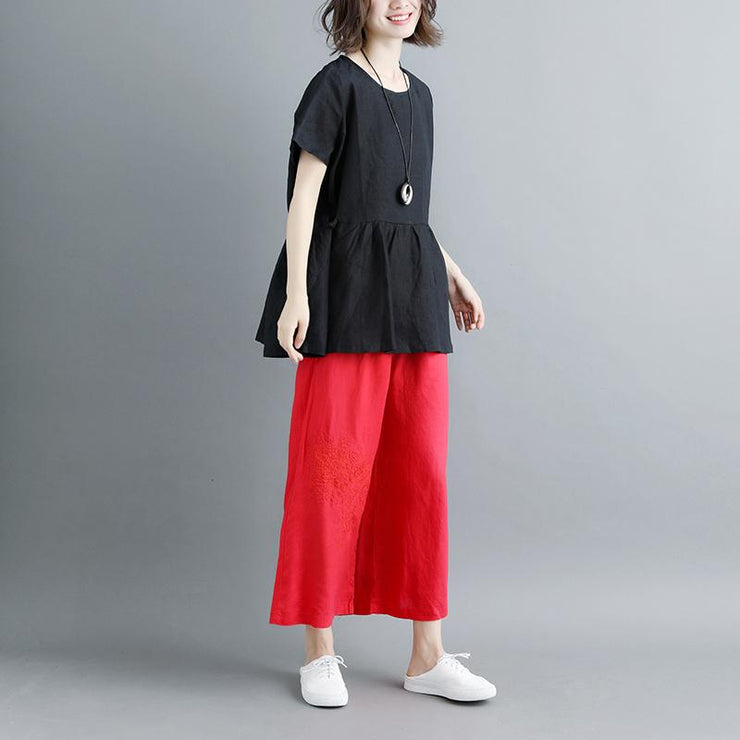 Elegant linen blouse plus size Pleated Summer Short Sleeve Round Neck Casual Black Tops