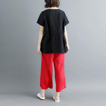 Load image into Gallery viewer, Elegant linen blouse plus size Pleated Summer Short Sleeve Round Neck Casual Black Tops